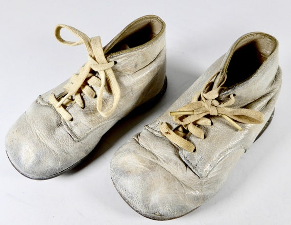 Vintage Ideal Baby Shoes Toddler Size 2 White Buc… - image 2