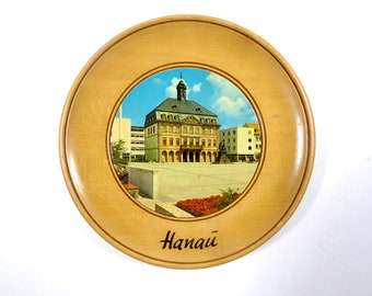 Vintage Hanau Germany Blonde Birch Souvenir Wooden Plate, Circa 1960's, Central Market Square, New Town Hall, and Brothers Grimm Monument