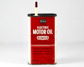 Vintage Craftsman Sears Roebuck Company Electric Motor Oil, Circa 1970's, 8 Ounce Tin, 1/2 Full, Fractional H. P. Workshop, Garden, Farm