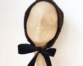 Handmade Chocolate Brown Faux Astrakhan Skull Cap Bonnet Hat with Black Velver Ribbon Nect Ties