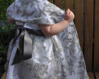 Formal gown white and grey (wedding, baptism...) with matching shawl