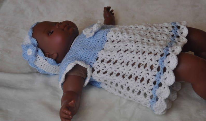 b7e97a74198ca Robe bandeau ensemble bébé layette crochet blanc bleu 2