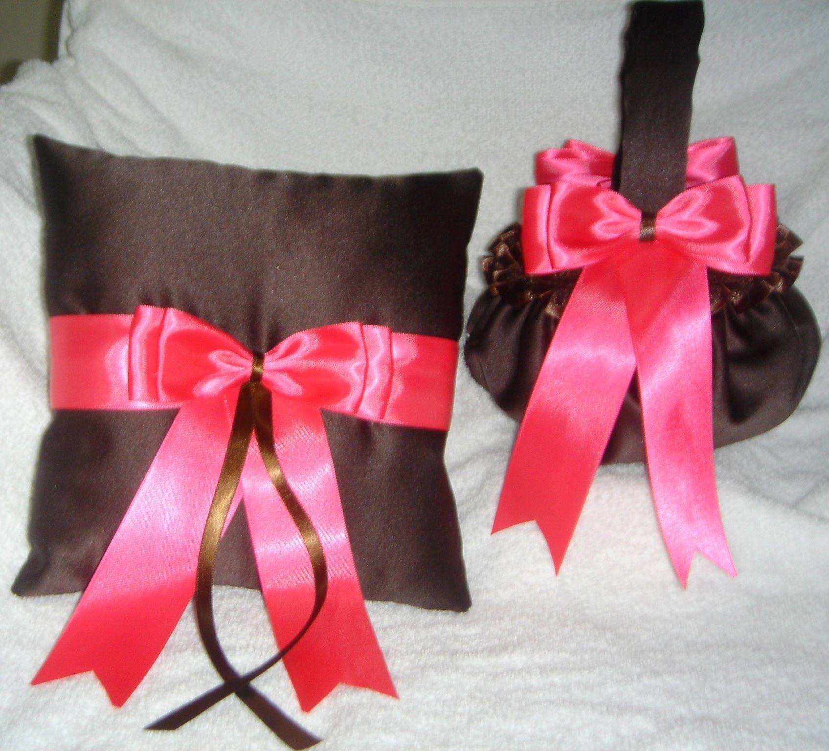 Chocolate Brown Hot Pink Flower Girl Basket Ring Bearer Etsy