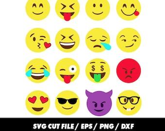 Emoji svg, Smiley faces svg files, Emoji clipart, Emoji svg eps png dxf Cut Print Mug Shirt Decal, Smiley faces clipart