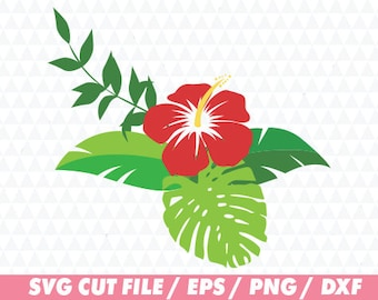 Hibiscus svg, Flower svg, Floral svg, Floral Cricut, Flower wreath svg, Floral wreath svg, Laurel svg, Monstera svg, Monogram svg, Hibiscus