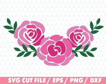 Rose svg, Flower svg, Floral svg, Floral Cricut, Flower wreath svg, Floral wreath svg, Laurel svg, Leaf svg, Monogram svg, Rose cricut