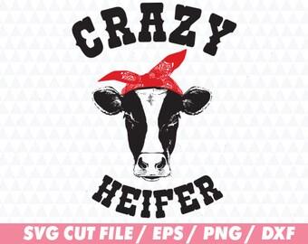 Crazy heifer svg, Heifer svg, Cow svg, Simple cow svg, Heifer please svg, Cow cut file, Heifer cut file, Svg file, Animal svg, Bandana svg