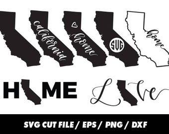 California SVG, States, United States svg, USA svg, California monogram frame silhouette svg eps png dxf Cut Print Mug Shirt Decal