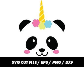 Unicorn svg files, Pandicorn svg, Panda svg, Horn svg, Monogram frame silhouette svg, eps, png, dxf, Cute svg, Kawaii svg, Panda cricut