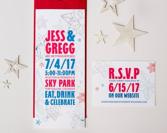 red, white and blue fourth of july themed wedding invitation suite