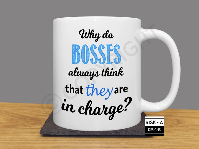 Bosses In Charge C Mug Blue Funny Male Boss Birthday