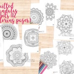 Quilted Mandalas Trio (Sets A, B, C) 12 Printables - Adult Coloring Pages/PDF by Color My Moods, Art by Maria Castro of ScriboCreative.com