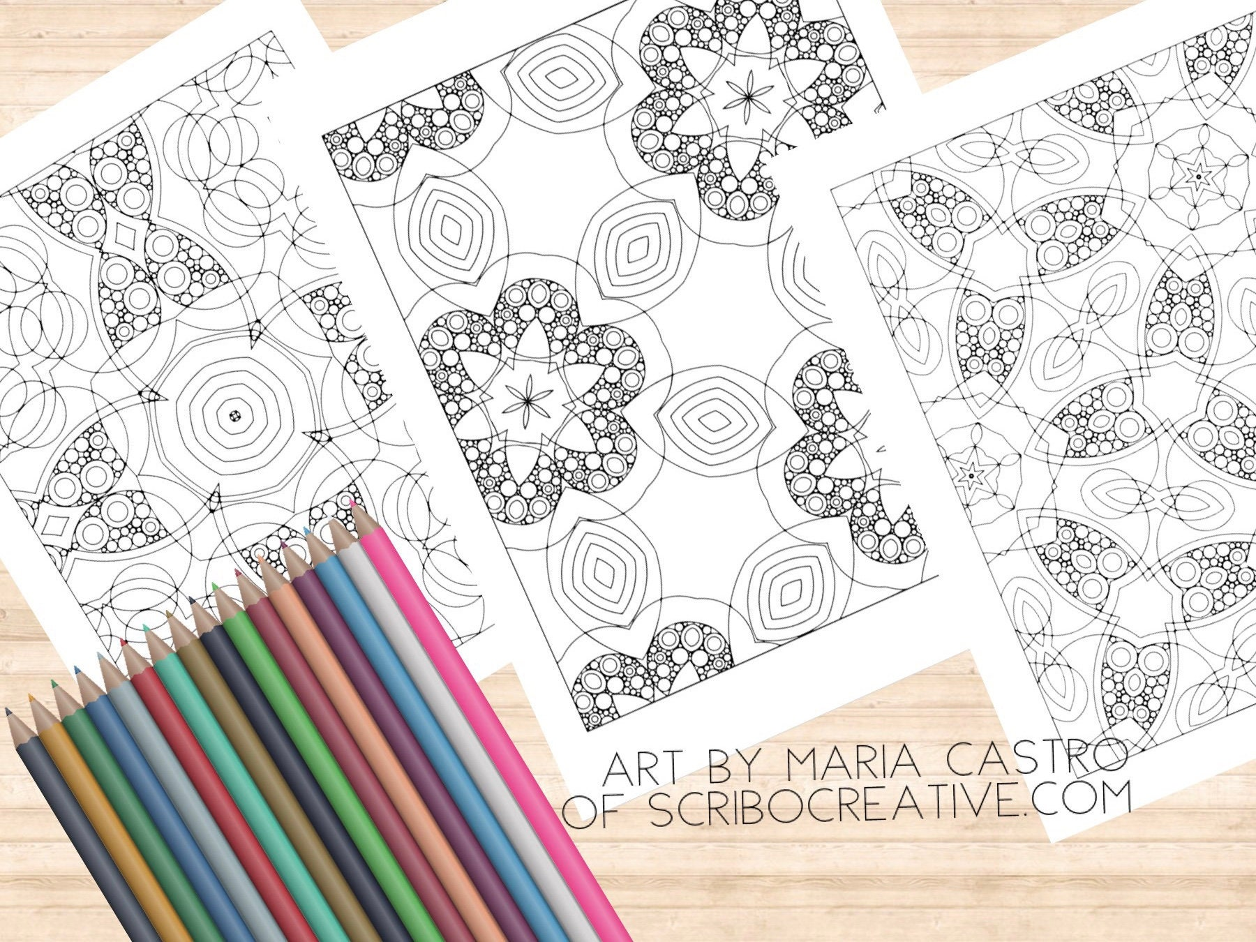 Adult coloring page geometric abstract fun patterns 3 coloring pages art by maria castro of scribo creative