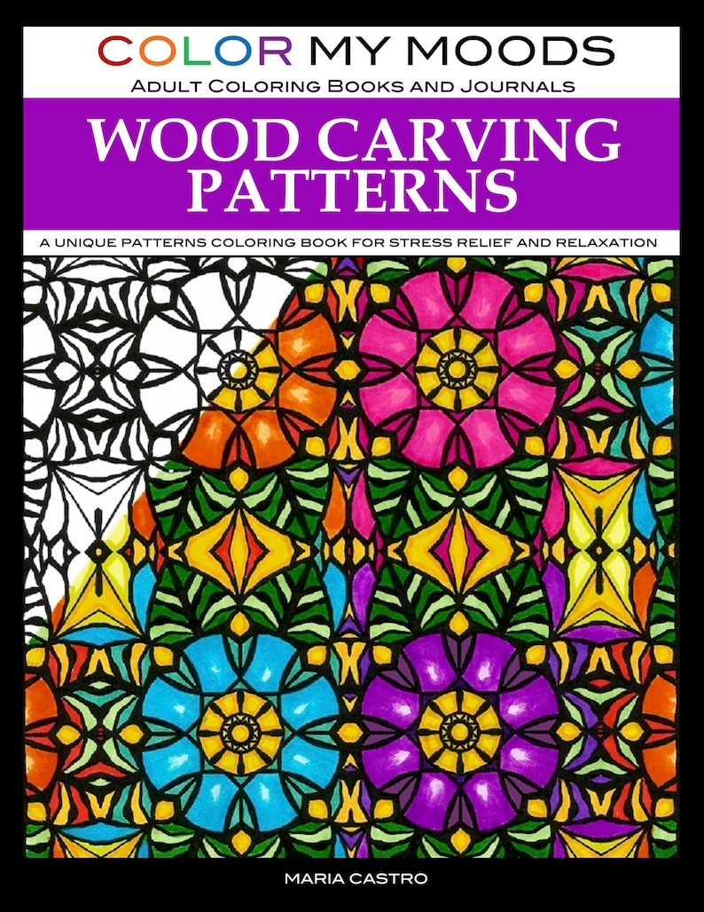 Wood Carving Patterns Adult Coloring Book by Color My Moods A image 0