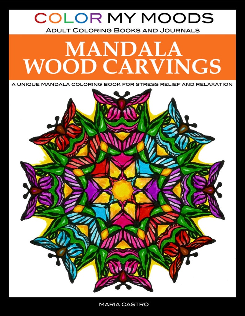Mandala Wood Carvings Adult Coloring Book by Color My Moods A image 0