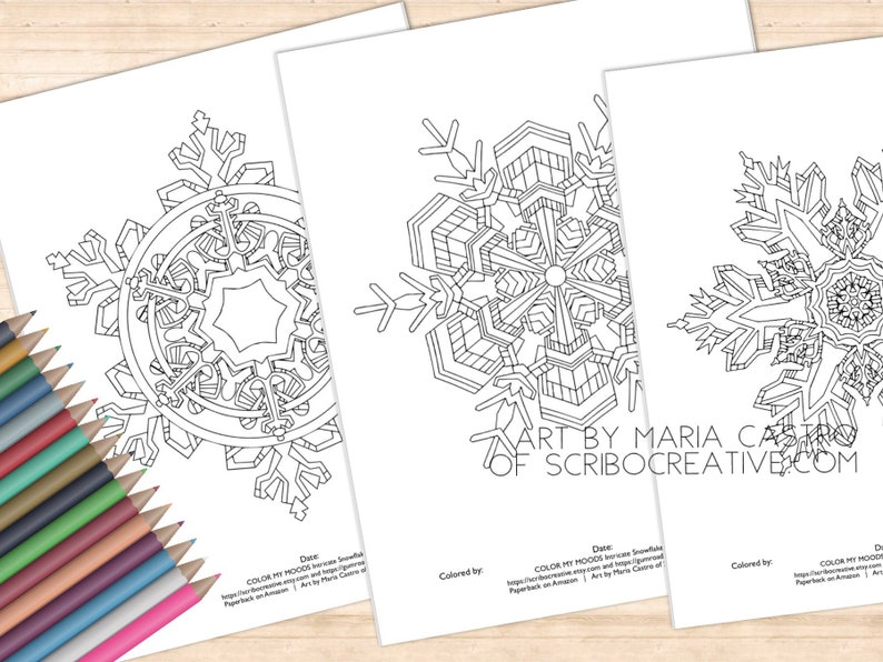 3 Winter Snowflakes Adult Coloring Pages   Art by Maria image 0