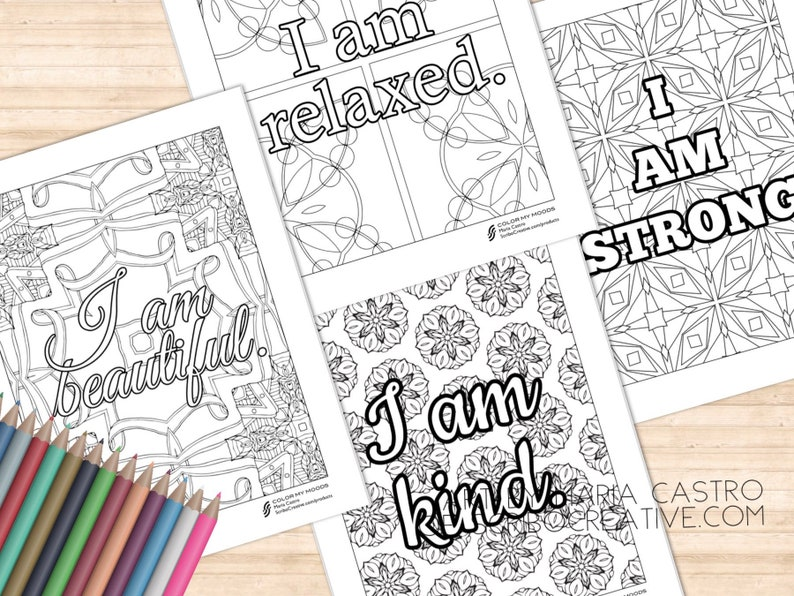 NEW Affirmations Set B  Adult Coloring Pages Inspirational image 0