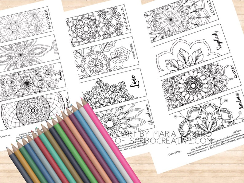 12 Adult Coloring Bookmarks by Color My Moods Art by Maria image 0