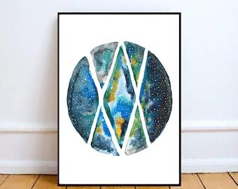 Galaxy Art | Wall Decor | Art | Hippie Art | Space Art | Watercolour Art | Galaxy Print | Galaxy Painting | Home Decor