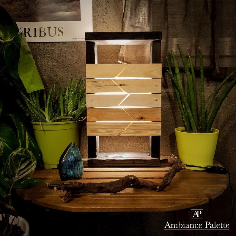Lampe En Bois Recycle Lampe En Bois De Palette Lampe Etsy