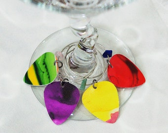 Hand Painted Guitar Pick Wine Glass Charms - Set of 4