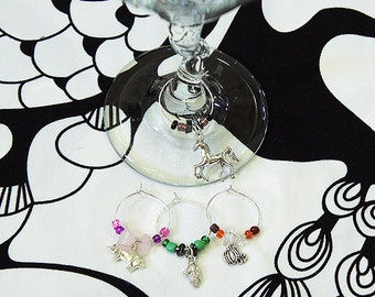 Farm Wine Glass Charms - Pumpkin, Pig, Corn, Horse - Set of 4