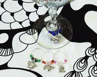 Farm Wine Glass Charms - Sheep, Bunny, Cow, Horse - Set of 4