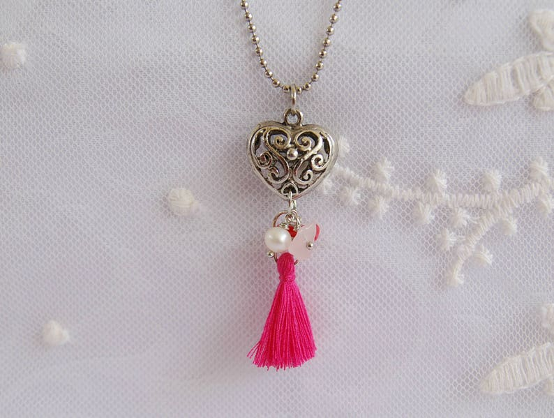 Boho pink tassel necklace Tassel jewelry Heart pendant long chain necklace Pearl Coral Rose Quartz stone necklace Romantic gifts Boho Gifts
