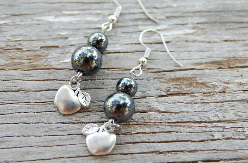 Hematite beaded earrings Cute apple charm earrings Hematite jewelry Healing gemstone black earrings Pastel goth jewelry Gothic Lolita gifts