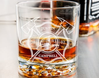 Firefighter Engraved Whiskey Glass - Fireman Rocks Glass, Firefighter Gifts, Gift for Him, Fire Department, Gifts For Firefighters