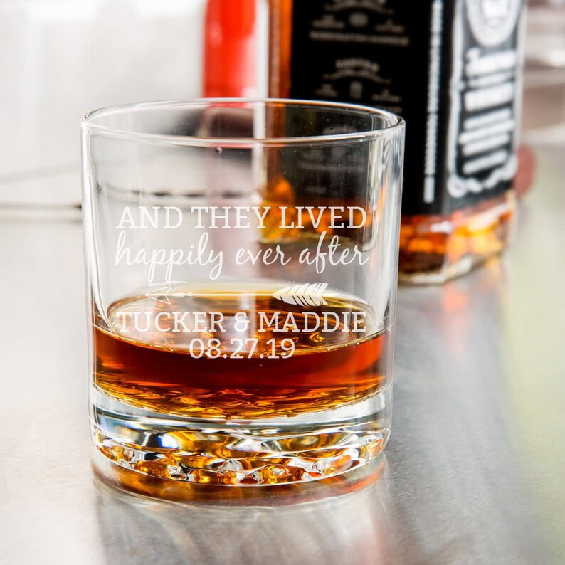 Happily Ever After Etched Whiskey Glass Groomsmen Gift image 0