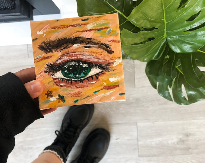 colorful eye painting, small canvas art, eye acrylic painting