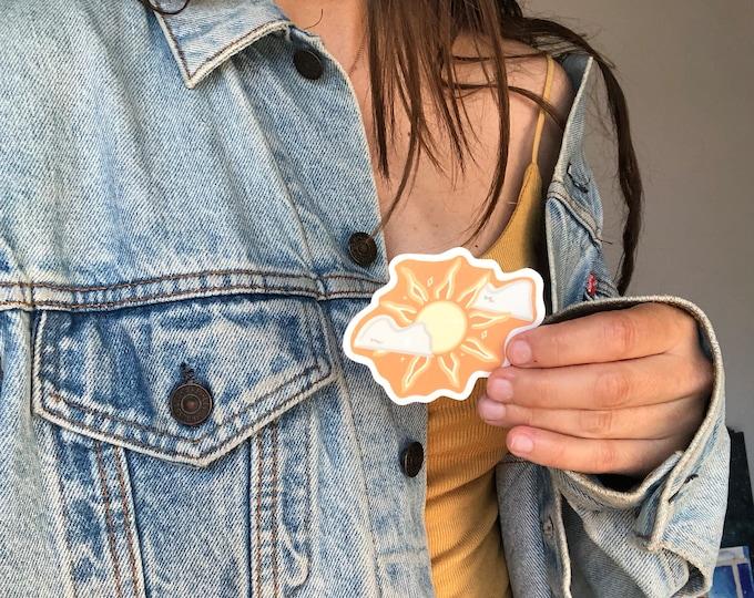 sun and clouds sticker, yellow sticker, happy sticker, boho sticker