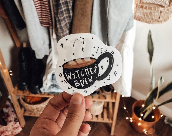 coffee sticker   witches brew sticker   coffee lover sticker   handmade stickers   vintage sticker   water bottle sticker