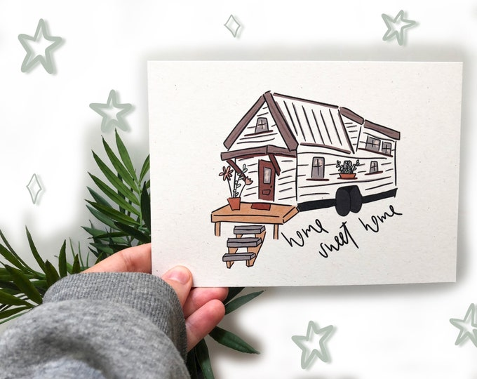 tiny house art | digital art print | hand drawn art decor | i love tiny houses