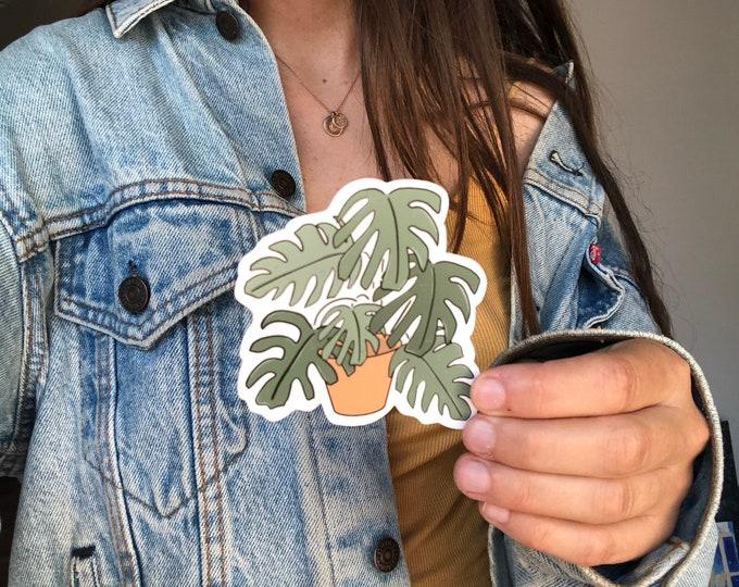 monstera plant sticker, plant lady sticker, plant obsessed sticker, water bottle sticker