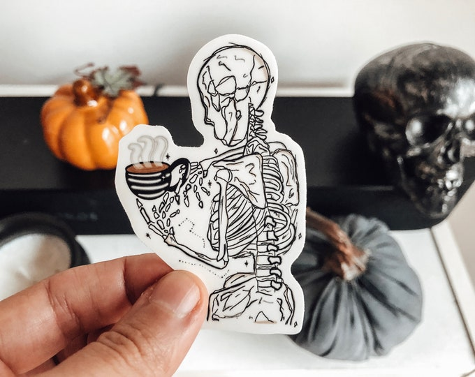 skeleton coffee sticker | skeleton sticker | handmade stickers | vintage sticker | water bottle sticker