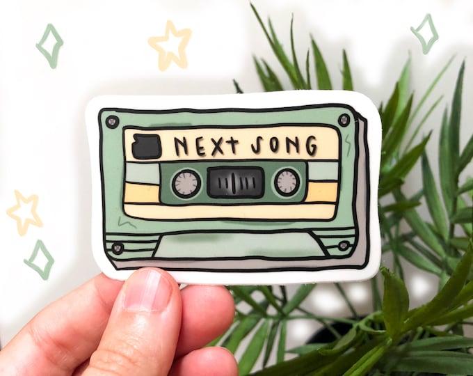 cassette tape sticker | vintage sticker | water bottle sticker | next song please | green sticker | yellow sticker | laptop sticker