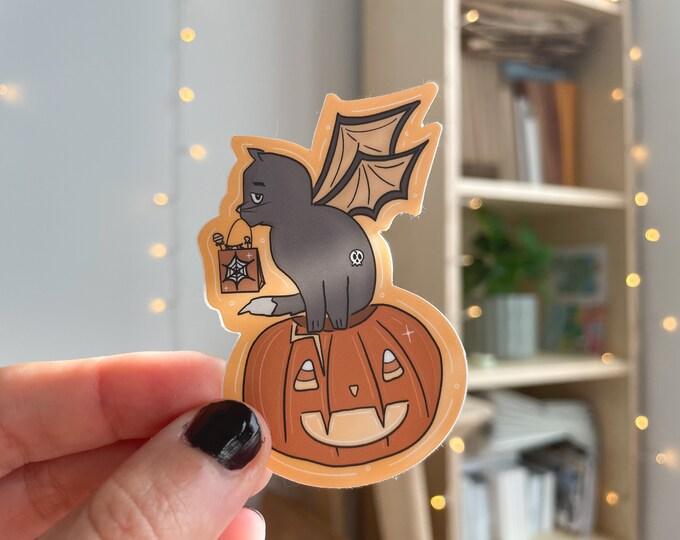 halloween cat sticker, pumpkin sticker, trendy stickers, vinyl stickers