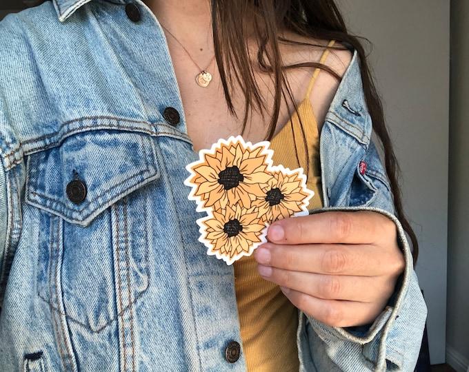 sunflower sticker   yellow sticker   flower sticker   handmade stickers   vintage sticker   water bottle sticker