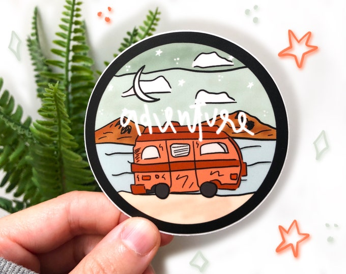 van life sticker, adventure sticker, explore sticker, lake sticker, desert lover gift, adventure lover gift, nomadic sticker