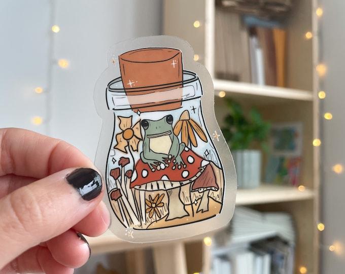 frog + mushroom sticker, mushroom lover sticker, frog lover sticker, trendy stickers, vinyl stickers