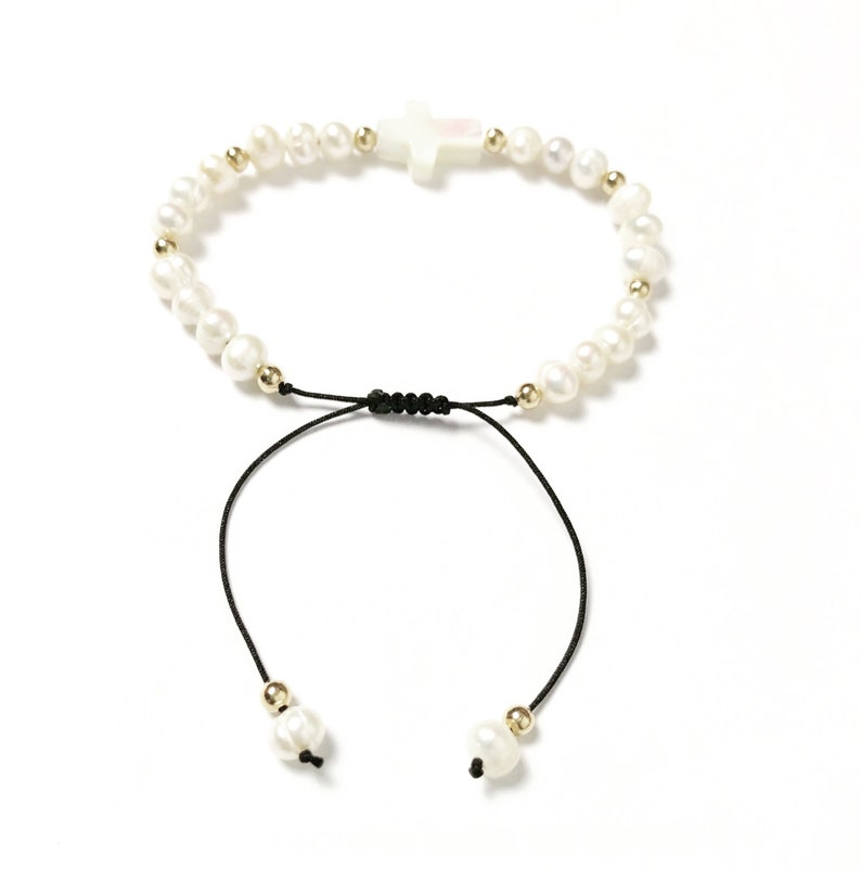 Freshwater pearls and 14k Gold beads bracelet