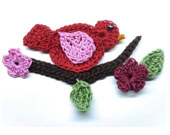 crochet on a branch bird