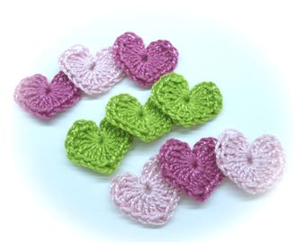 9 hearts cotton crocheted red, yellow, orange.