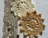 large retro crochet pattern patterns, taupe and ecru