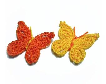 set of 2 crochet Butterfly