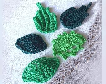 trio of green crochet leaves