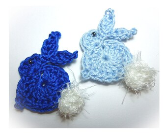 set of 2 bunnies applique crochet, 2 shades of blue