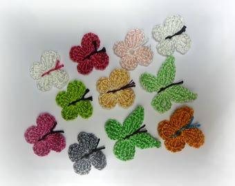Multicolored crochet butterflies 11